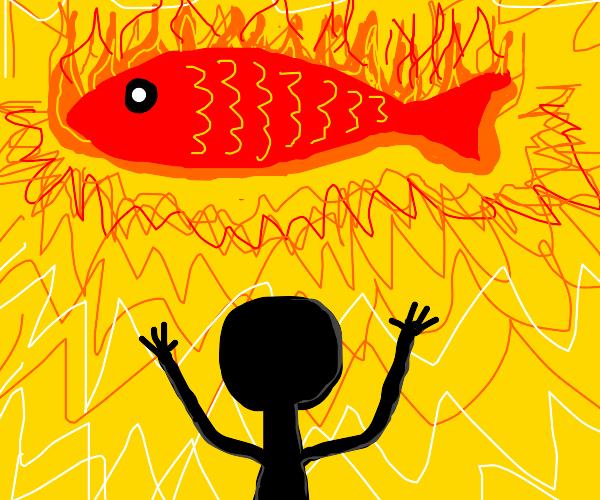 Man worships fire fish god.