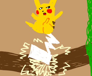 Pikachu uses Iron Tail on a tree