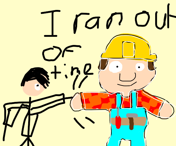 An emo teenager shakes bob the builder's hand