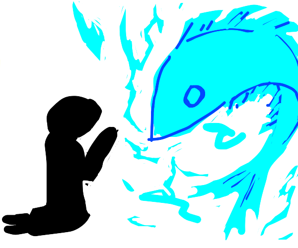 Person Worshiping A Fish With Fire