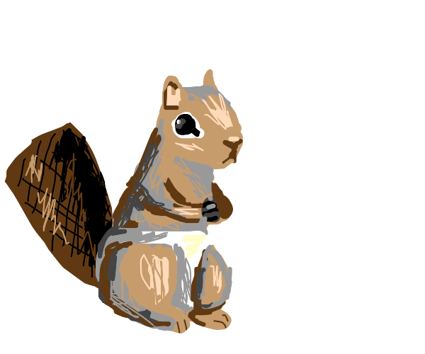 A squirrel with a beaver tail in a diaper