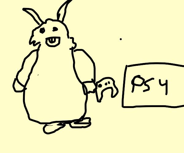 big chungus playing a ps4
