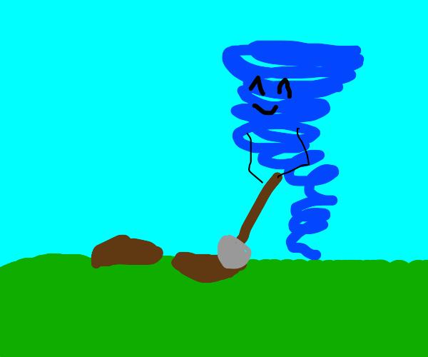 Happy blue tornado is digging a hole