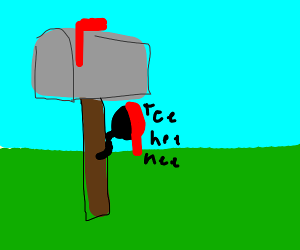 playing hide and seek behind a mailbox