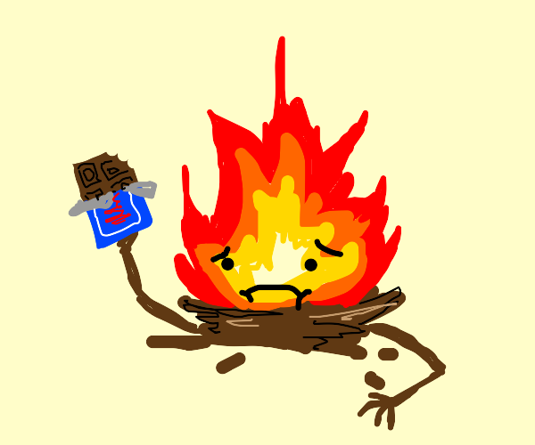 Depressed campfire eats chocolate