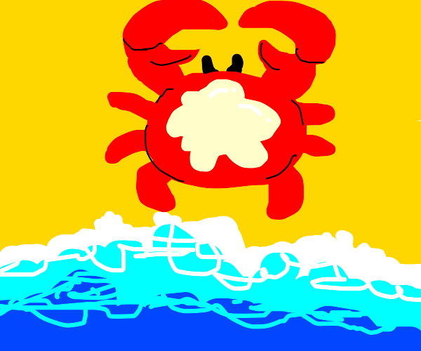 Crab on the beach with suntan lotion