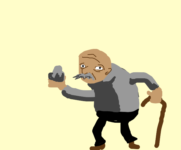 Old man holds a rock