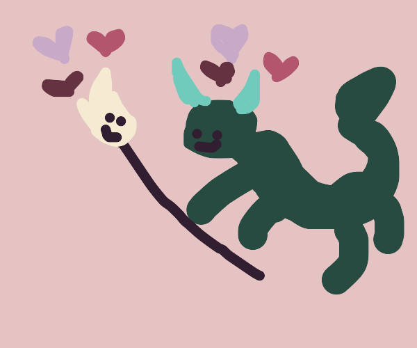 Old magical dragon with a magic broom