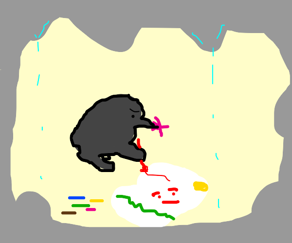 mole drawing on the soil underground