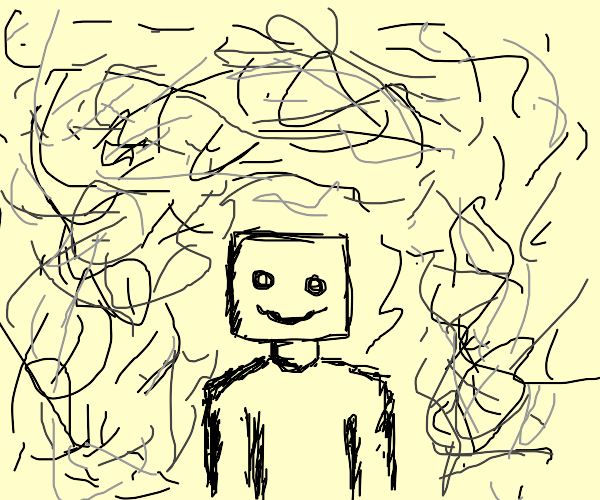 Square headed man surrounded by scribbles