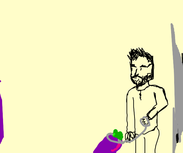 man has eggplant on leash