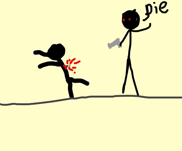 stick figure gets shot