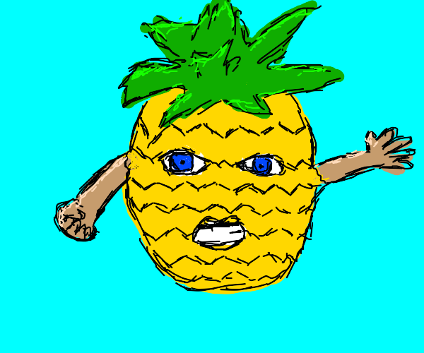 Pineapple grows arm's, mouth, and eyes