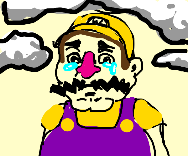 wario is sad on a cloudy day