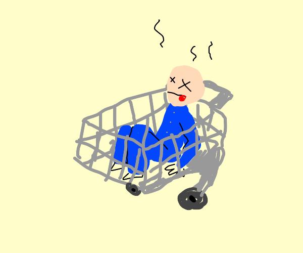 Man in blue jumpsuit dies in shopping cart