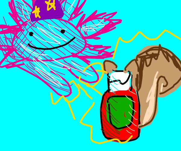 Axolotl wizard turns a squirrel into ketchup.