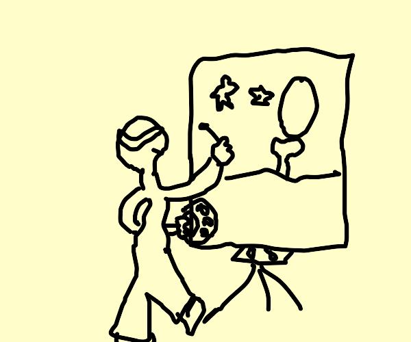 Blindfolded artist