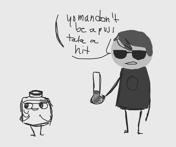 KoOl dUde offers sanitizer bOnG hIt