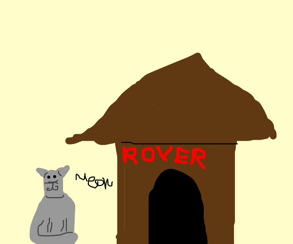 A cat outside a doghouse.