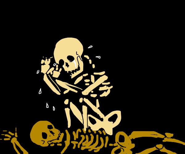 Skeleton mourns another's death