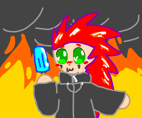 Axel enjoys ice cream oblivious to the flames
