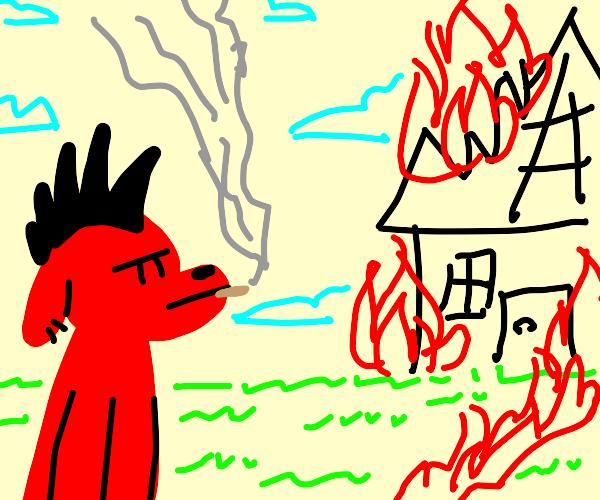 Punk Clifford watches a house burn