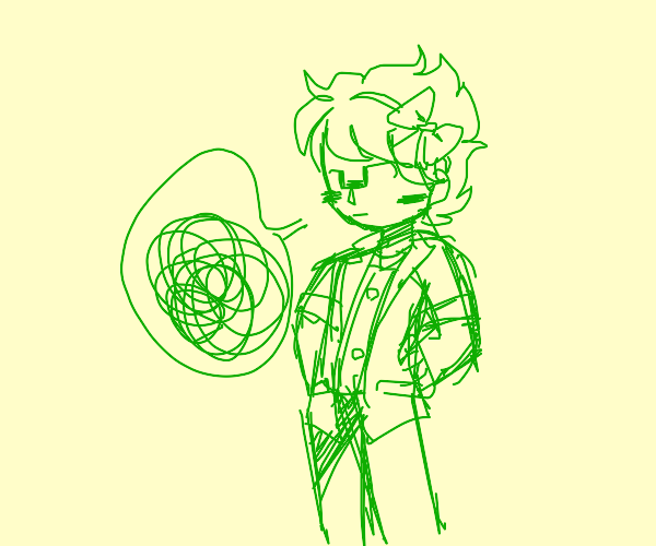 Greenhaired man with bow in hair is bored