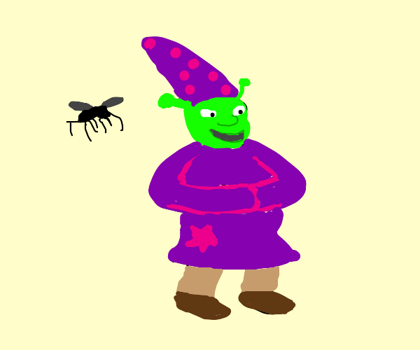 wizard shrek with a mosquito