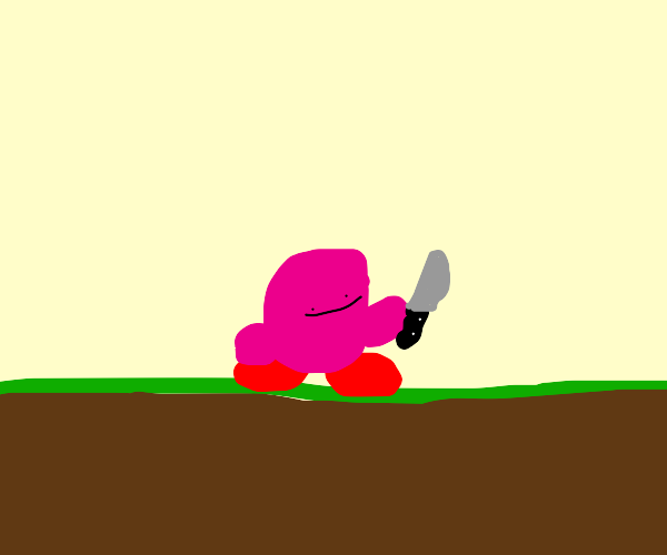 Sinister Kirby holding a knife