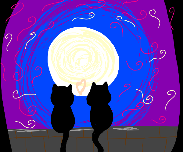 2 black cats on roof look at moon