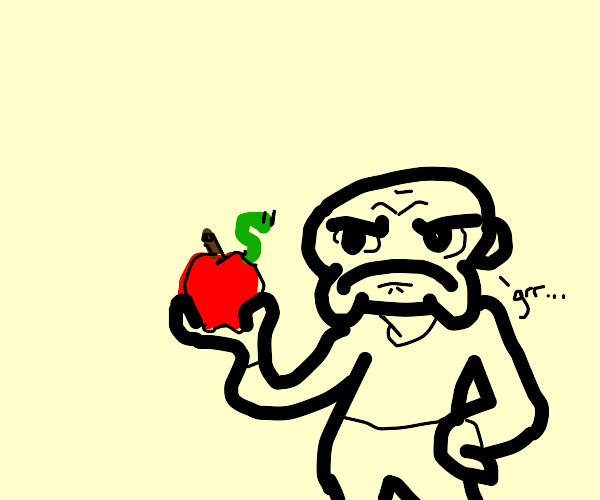 Guy is grossed out by a worm in an apple