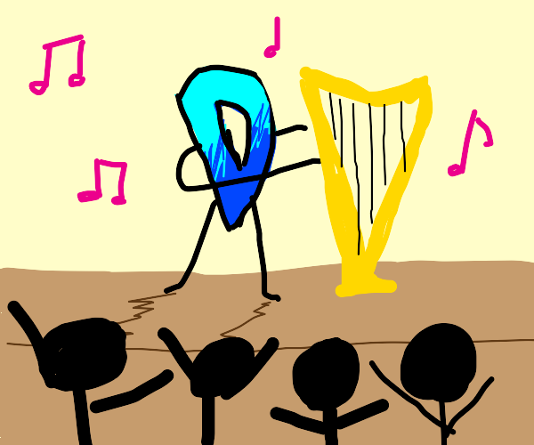 Drawception playing a harp on stage