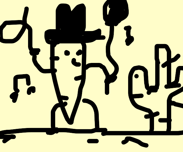 Dancing carrot cowboy holding balloon