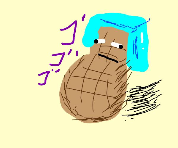 putting helmet on nut (minecraft)