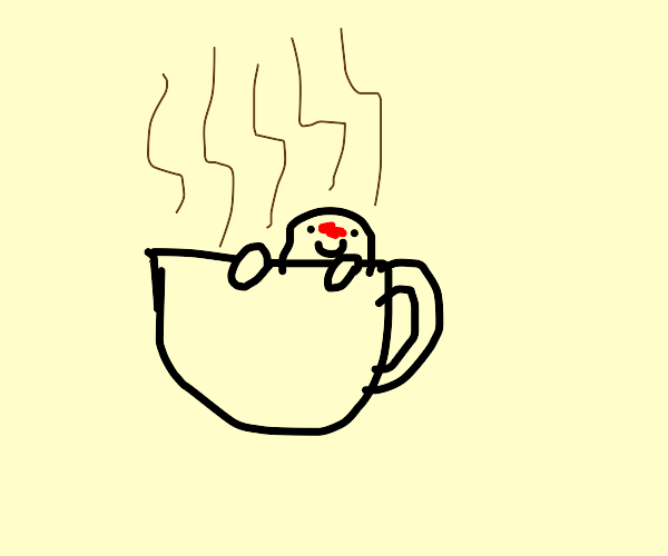 dude chilling in a cup of hot coffee