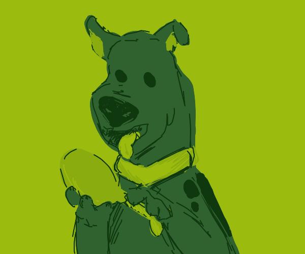 Scooby Doo eating chicken leg