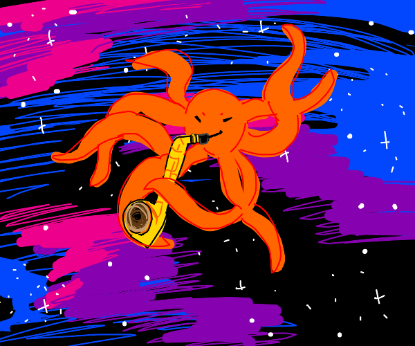 octopus playing the saxophone in outer space
