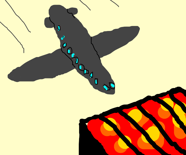Airplane flying into lit grill