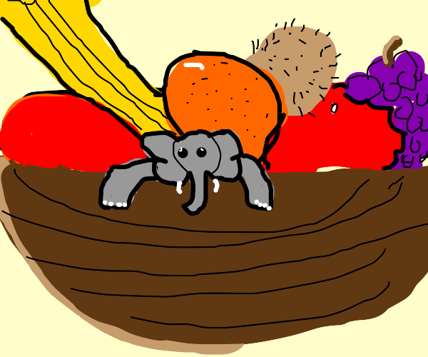 Mini elephant in a bowl of fruits