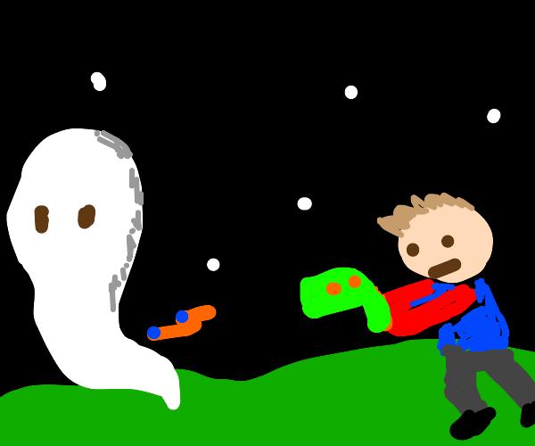 Man Bonks Ghost With Nerf Gun