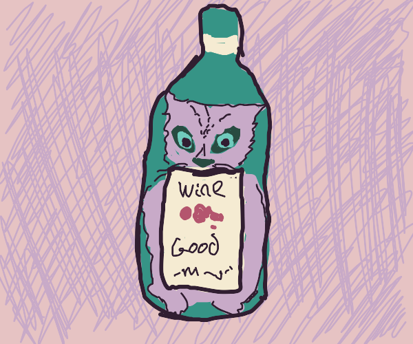 Cat with wine bottle
