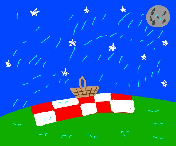 A picnic in the rain.