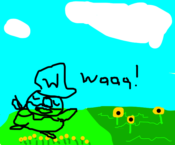 Hand drawing crying Wario on green field