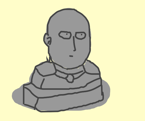 Gothic stone bust of One Punch Man