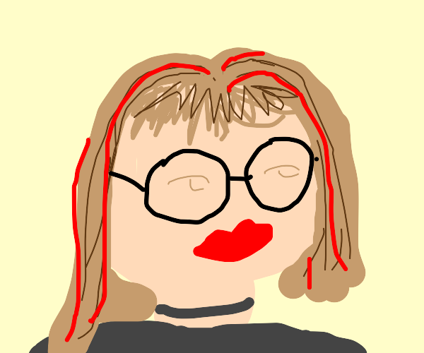 Girl with glasses & brown hair w/ red stripes