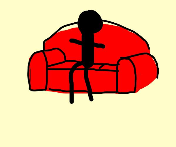 person on sofa