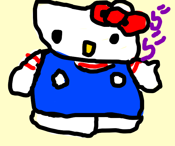 Hello Kitty standing there... MENACINGLY!