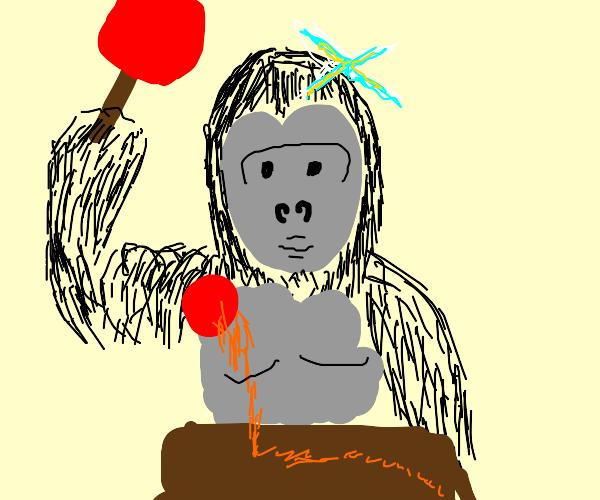 Godzilla plays ping pong