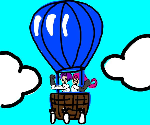 Team Rocket In A Hot Air Balloon