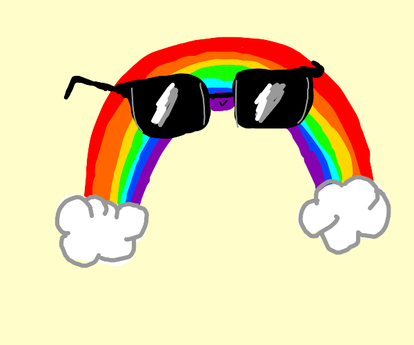 Cool rainbow wearing sunglasses